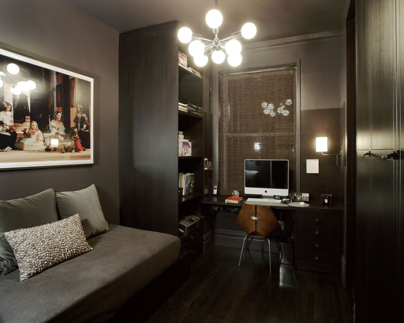 Sophisticated Design In Modern Home: Sophisticated And Stylish Monochromatic Palette Study With Sleek Dark Wall And Shelves Modern Grey Sofa And Throw Pillows
