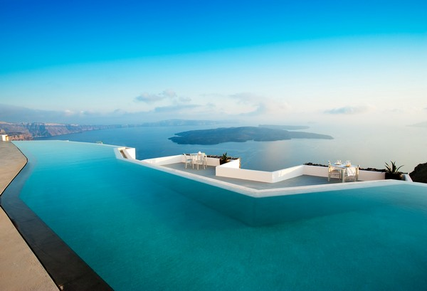 Spectacular Infinity Pool 2: Spectacular Aureasf Infinity Pool Outdoor Design With Table Chair Bay View Ideas