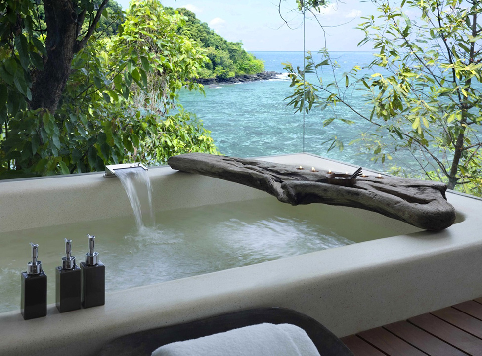 Song Saa : Private Remote Island Resorts In Cambodia: Staggering View Over The Ocean Of Villa Outdoor Bathroom Exterior Design With Bathtub And Wooden Flooring Ideas