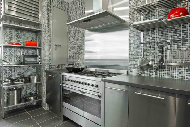 Rustic Elegant Kitchen Appliances Made From Stainless Steel: Stainless Steel Modern And Minimalist Kitchen Appliances Design Ideas With Mosaic Tiles Black Floor Stainless Steel Kitchen Shelves ~ stevenwardhair.com Design & Decorating Inspiration