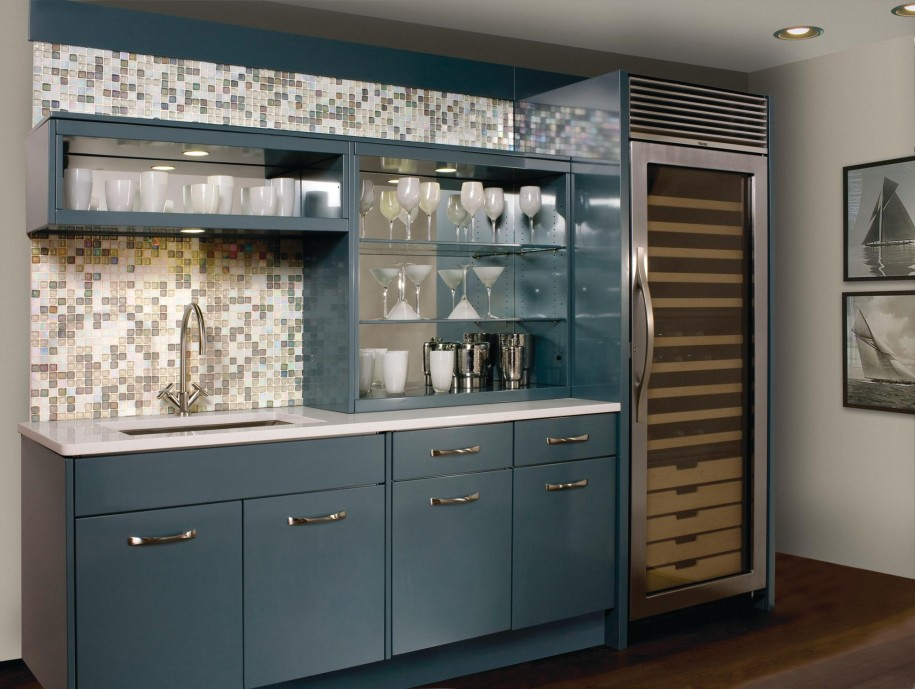 Rustic Elegant Kitchen Appliances Made From Stainless Steel: Stainless Steel Modern And Minimalist Kitchen Appliances With Mosaic Tile Backsplash Blue Counters Stainless Steel Kitchen Shelves
