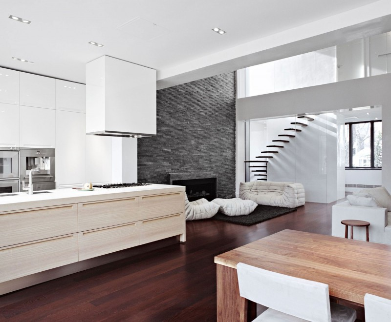 Interesting Decorated House Using Amazing White Color And Minimalist Decoration : Staircase Laminate Floor Wooden Dining Table Untreated Wall White Kitchen Cabinet1
