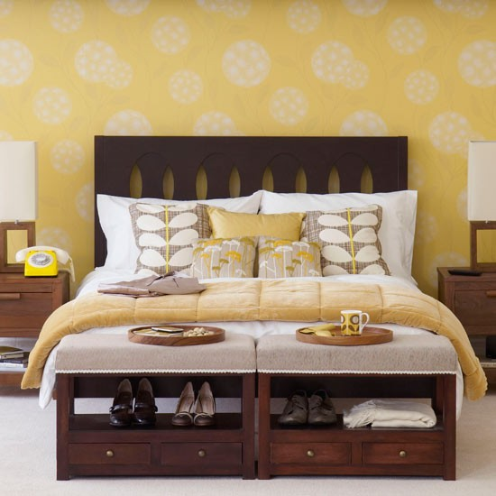 Cheerfully Pleasant Colorful Bedroom Using Fantastic Furnitures: Striking Bedroom Colour Schemes With Breathtaking Use Of Romantic Furnitures Yellow And White Bedding Unit