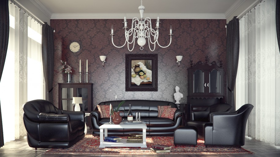 Striking Design Ideas For Up to Date Living Room: Striking Design Ideas For Up To Date Living Room Interior Design Style With Black Sofas And Classic Lamp 915x514
