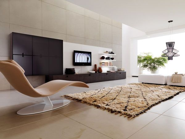 Striking Design Ideas For Up to Date Living Room: Striking Design Ideas For Up To Date Living Room With Black And White Television Cabinets Stripped Brown Rug Modern Interior Design Style