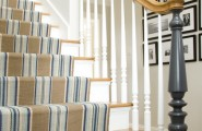 Excellent Striped-Stair-Runner For Staircase : Striped Stair Runner At Traditional Staircase With The Blue Element Giving A Chic Seaside Feel