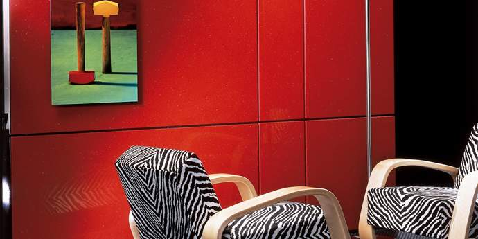 Dupont's Best Value Countertops Design: Stuning Indus Red Dupont Wall Clading Design With Picture And Zebra Armchair Ideas