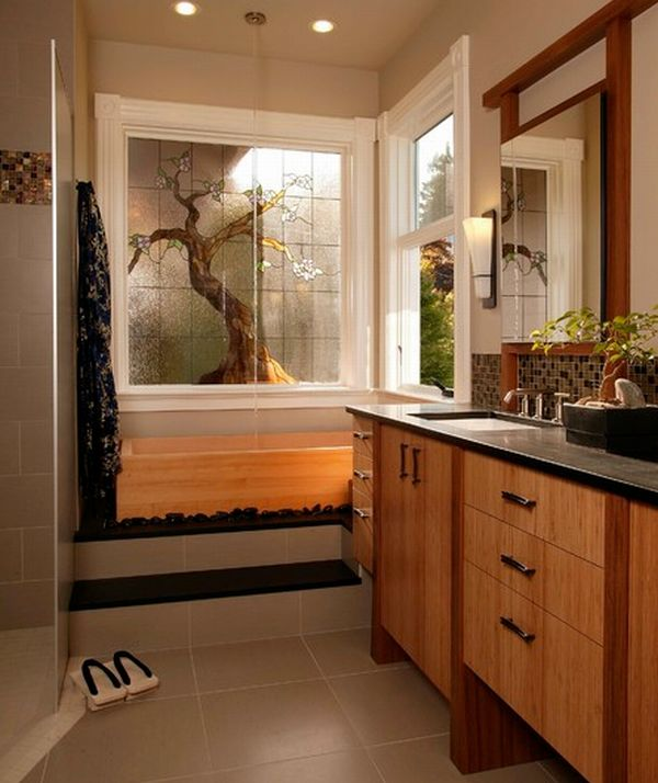 Fascinating Wooden Japanese Bathroom Deign For Relaxation: Stunning Asian Themed Master Bath With Nuetral Shades And Lovely Bamboo Cabinetry Wooden Drawers