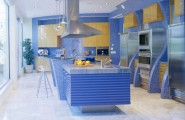 Unique And Innovative Kitchen Concepts Ideas : Stunning Blue Scheme Modern Kitchen Concept Design With Wooden Cabinet And Simply Barstool Ideas