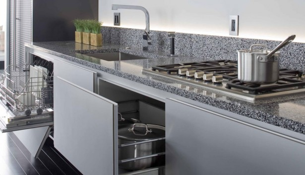 Stunning Caesarstone Ultra Modern Carbone Countertop And Backsplash Kitchen Cabinet Design With Saucepan Stove And Faucet With Wooden Flooring Ideas