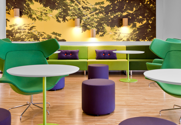 Amazing Modern Colorful Skype's Stockholm Office: Stunning Colorful Skype Stockholm Offices Vibrant Lounge Interior Design With Wall Decal Lighting And Green Scheme Chairs With Purple Pouffe