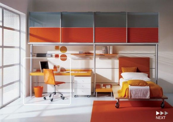 Awesome Contemporary Boys Bedrooms Design Ideas By Mariani: Stunning Comfortable Clean Healthy Orange Color Contemporary Boys Bedroom Design With On Whell Beds Desk Chair Bookshelf Cabinet Rug And Porcelain Tile Flooring Ideas ~ stevenwardhair.com Bed Ideas Inspiration