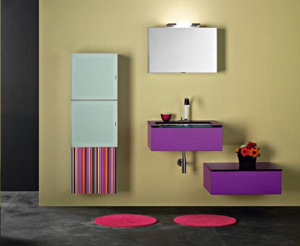 Bathroom Vanity Inspiration: Stylish Contemporary Bathroom Vanities : Stunning Contemporary Multicolored Bathroom Vanities Design Ideas With Mirror Cabinet Rug And Tile Flooring