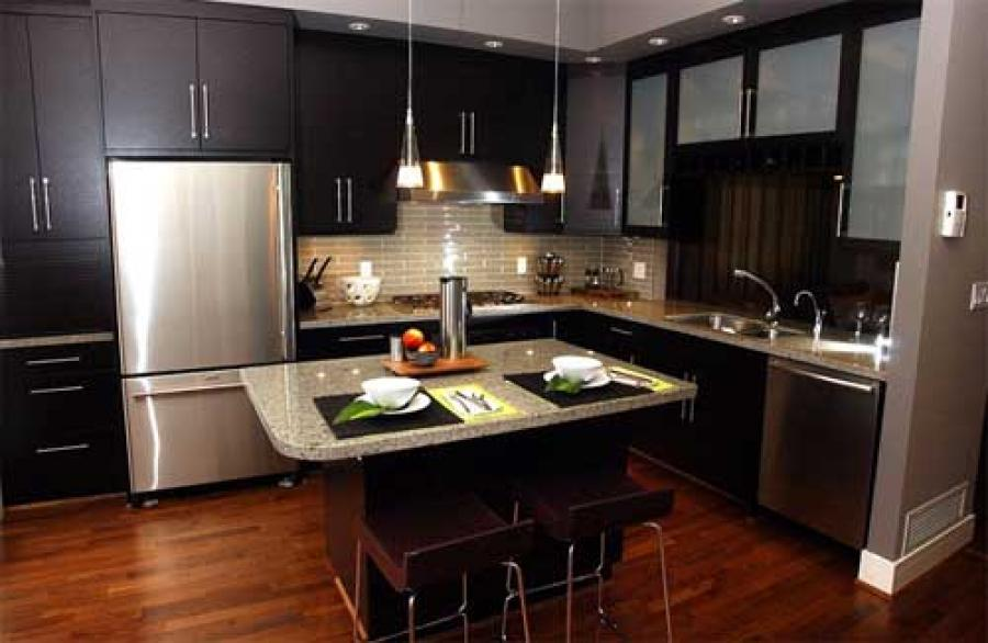 Stunning Sleek Black Kitchen Room Design Ideas : Stunning Dark Black Kitchen  Room Design Ideas With
