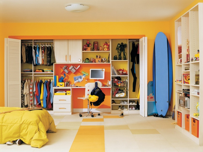 Build Your Desk In A Closet : Stunning Desk In Closet Ideas For California Teen Shelves Computer Chair Bed Surfboard Tile Flooring