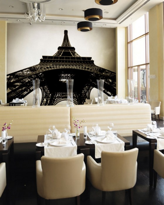 Wall Decal For Interior Decoration Ideas: Stunning Elegant Restaurant Interior Design With Black Table And Cream Sofa And Eiffel Tower Theme Wall Decal