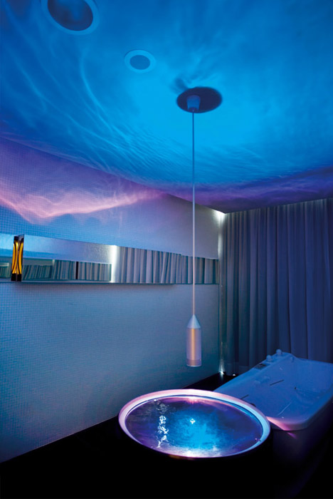 Enchanting Modern Bathroom Design Ideas : Stunning Futuristic Blue Theme Bathroom Hotel Interior Design With Pendant Light Mirror Ideas
