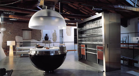 Unique And Innovative Kitchen Concepts Ideas: Stunning Futuristic Exposed Wooden Beams Ceiling Kitchen Concept Design With Futuristic Sheer Kitchen Appliances With Stainless Steel Cabinet And Sofa On Concrete Floor With Wall Decor