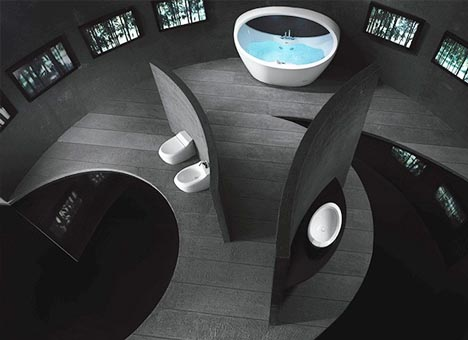 Enchanting Modern Bathroom Design Ideas: Stunning Futuristic Inspiration Round Bathroom Design With Unique Bathtub Window Wooden Floor Combined With Glass Floor Ideas