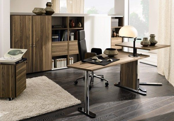 Captivating Modern Home Office Design Ideas: Stunning Modern Home Office Decoration With Stunning Wooden Office Furniture Desk Swivel Chair Cabinet Bookshelves Jars Window Wooden Flooeing And Lamp Rug Curtain Ideas ~ stevenwardhair.com Bookshelves Inspiration