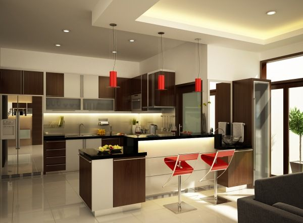 Modern Kitchen Design : Stunning Modern Kitchen Design 10 Kitchen Island Cabinets Chairs Lamps Tile Flooring Ideas