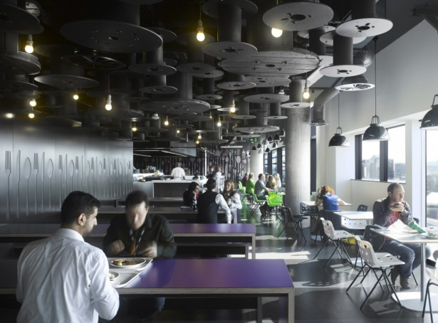 Breathtaking, Creative And Colorful BBC North Office: Stunning Modern Office Dining Room BBC North Office With Purple Long Table With Breathtaking Cable Winder As Ceiling Decoration Ideas ~ stevenwardhair.com Interior Design Inspiration