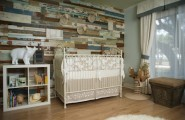 Awesome Reclaimed Wood Wall Design Ideas : Stunning Multi Size And Color Reclaimed Wood Wall As The Perfect Backdrop For The Rustic And Whimsical Room Decor With Nursery Baby Case And Wooden Flooring Ideas