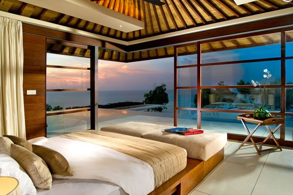 Inspiring Ocean View Bedroom Design Ideas : Stunning Ocean View Bedroom Decoration With Large Glass Wall Bed Pillow Curtain Table And Tile Flooring Ideas