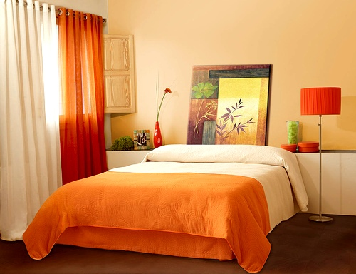 Small Master Bedroom Colors Design Ideas: Stunning Orange Colors Small Master Bedroom Interior Design With Arch Lamp Wall Decor Ideas1