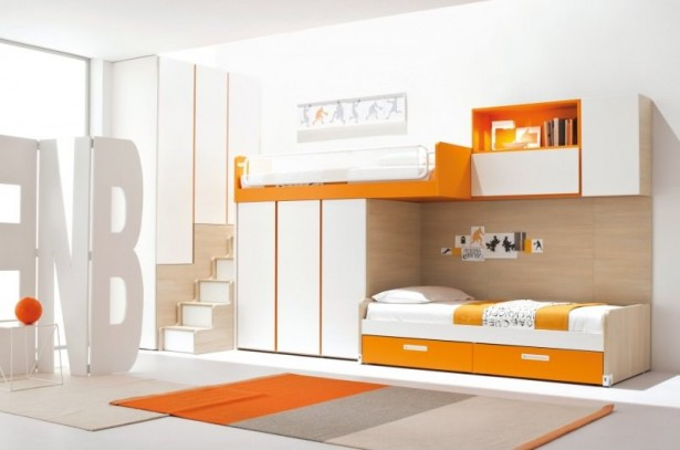 Furniture Ideas For Small Bedroom Design: Stunning Orange White Scheme Of Furniture Modern Small Bedroom Ideas With Loft Bed Set With Wardrobe Ladder And Bookshelves With Area Rug Ideas ~ stevenwardhair.com Bed Ideas Inspiration