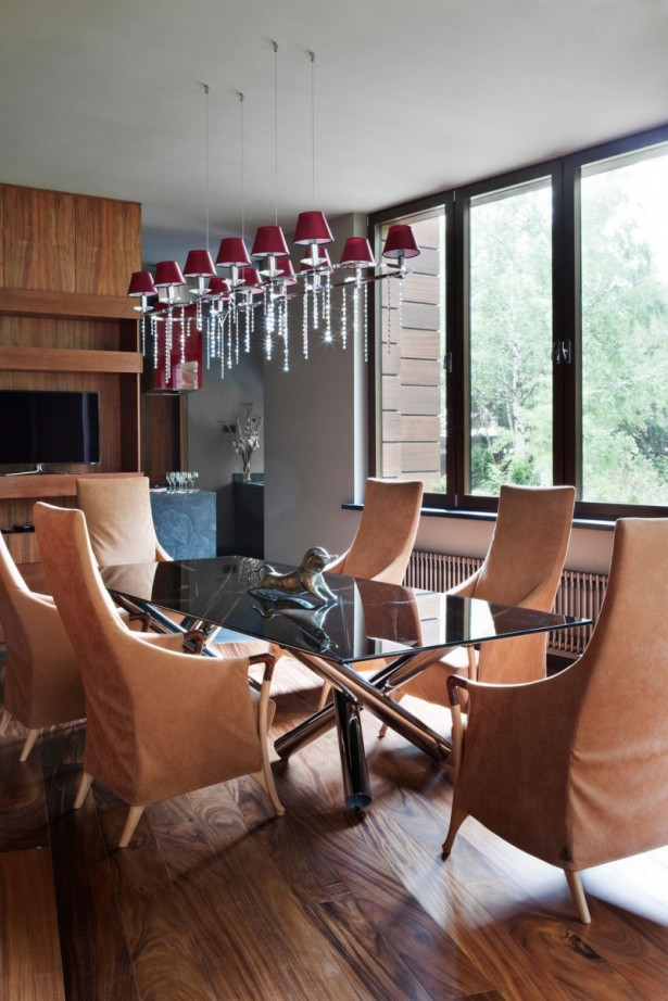 Fabulous Glass And Metal Decoration For House Interior Design Ideas: Stunning Red Chandelier Near TV Cabinet Cozy Brown Arm Chairs Top Glasses Table Big Bright Glasses Windows Nic Floor Design ~ stevenwardhair.com Design & Decorating Inspiration