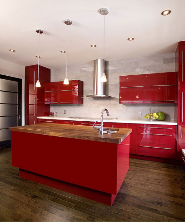 Kitchen Island Designs Adds A Modern Touch To Your House: Stunning Red Color Kitchen Island Design 4 With Red Color Cabinetry Pendant Light Wooden Flooring Ideas