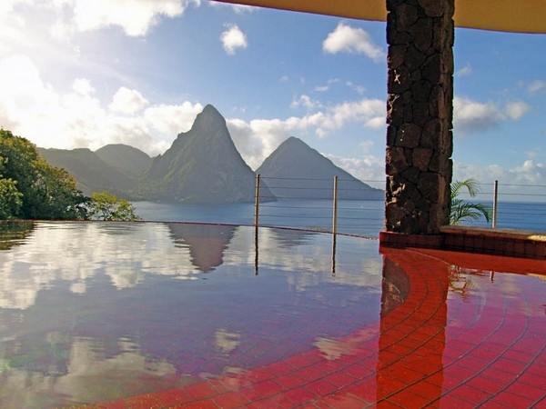 Inspiring Infinity Pool Ideas: Jade Mountain Resort Private Infinity Pool Design: Stunning Red Color Private Infinity Pool With Beautiful St Lucias Scenic Beauty View