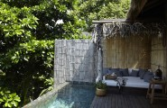 Song Saa : Private Remote Island Resorts In Cambodia : Stunning Remote Island Villa Terrace Exterior Design With Nature Tree Trunk Roof And Bamboo Fence With Infinity Pool And Wooden Flooring Ideas
