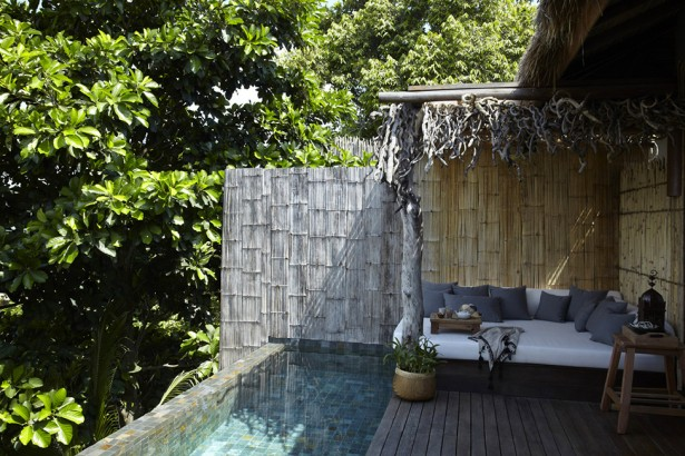 Song Saa : Private Remote Island Resorts In Cambodia: Stunning Remote Island Villa Terrace Exterior Design With Nature Tree Trunk Roof And Bamboo Fence With Infinity Pool And Wooden Flooring Ideas ~ stevenwardhair.com Bed Ideas Inspiration