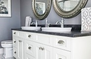 Very Cool Bone Inlay Mirrors : Stunning Round Framed Mirrors With White Sink Vanity And Floor At Farmhouse Bathroom