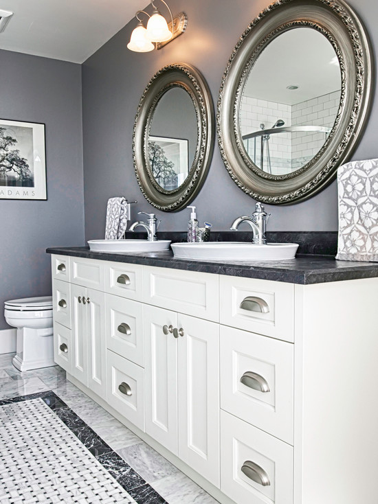 Very Cool Bone Inlay Mirrors: Stunning Round Framed Mirrors With White Sink Vanity And Floor At Farmhouse Bathroom