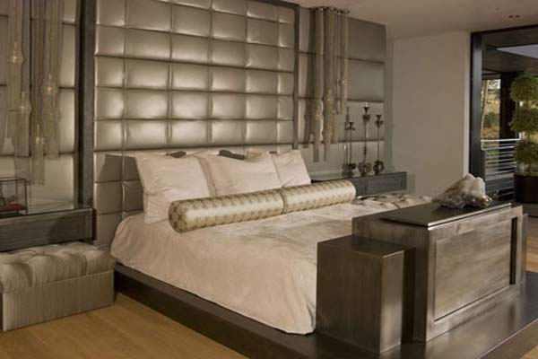 Awesome Padded Wall Panel Design As A Wall Decor Ideas : Stunning Silver Padded Wall Panels Design In Wooden Flooring Modern Bedroom Interior Decoration With Bedside Lamps And Pouf