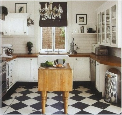 Vintage Wooden Kitchen Island Designs: Stunning Simple Kitchen Design Ideas Space With Sufficient Lights With Wooden Vintage Kitchen With Beautiful Calm Pine Kitchen With Green Glazed Island With Black And White Tile