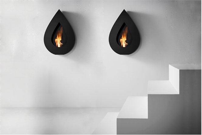 Awesome Stylish Small Modern Moveable Fireplace Design : Stunning Stylish Design Of Twin Black Teardrop Shaped Small Fireplace Design Ideas