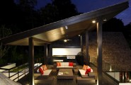 Great Terrace Arragement Design With Gorgeours Concept : Stunning Thai Terrace Design With Remarkable Living Space Decoration And Sloping Ceiling Wooden Floor