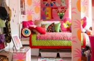 Cozy And Fun Tween Girl Bedroom Interior Ideas : Stunning Tween Girl Orange Pineapple Motive Wallpaper And Orange Cloud Ceiling Decor Bedroom Interior Design Colorful Cushions And Bedcover With Storage Under Bed Ideas