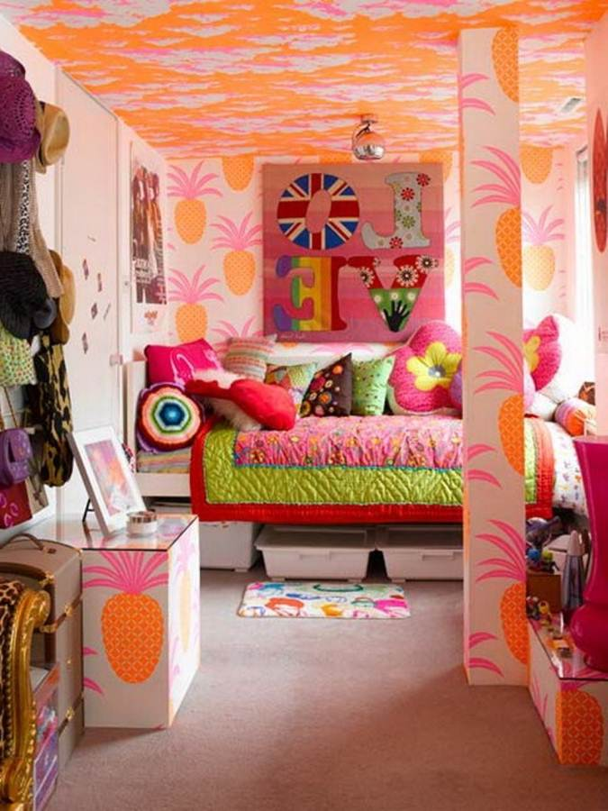 Cozy And Fun Tween Girl Bedroom Interior Ideas: Stunning Tween Girl Orange Pineapple Motive Wallpaper And Orange Cloud Ceiling Decor Bedroom Interior Design Colorful Cushions And Bedcover With Storage Under Bed Ideas