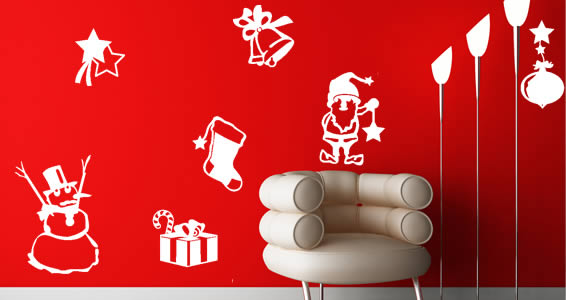 All Kind Of Christmas Holiday Wall Decals: Stunning White Winter Fun Wall Decal On Red Wall