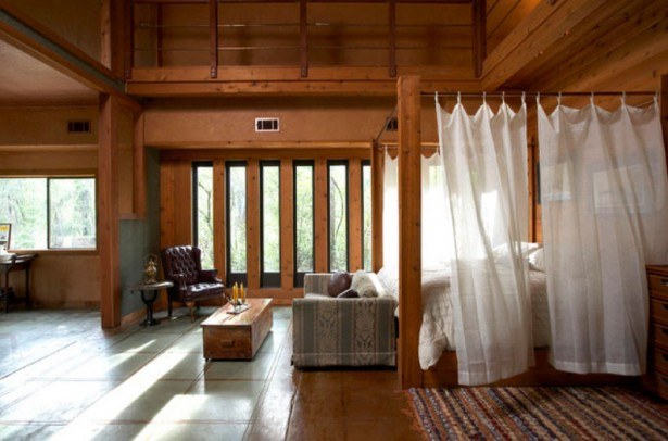 Flaunt Your Bedrooms with Decorative Canopy Beds (part-2): Stunning Wooden Modern Master Bedroom With Wood Canopy Bed With Translucent Curtains And Visually Eye Catching Wooden Crib ~ stevenwardhair.com Bed Ideas Inspiration