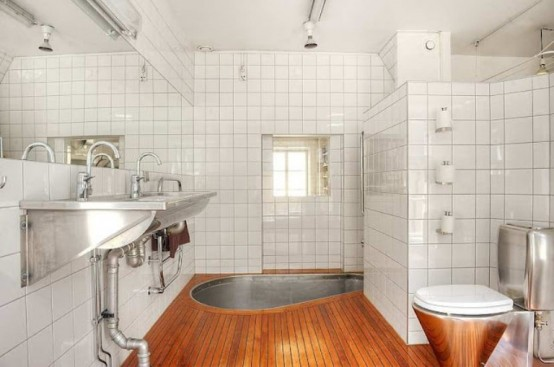 Original Scandinavian Apartment's Interior With Play Of Materials And Colors: Style Apartment Interior Design Trendy Bathroom With Small White Tiles Wall Wooden Flooring Stylist Modern Chrome Finishing Sink Toilet Bright Clean