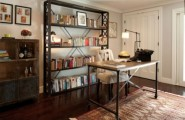 Old Fashion Captivating Home Office Design Ideas : Stylish And Dramatic Masculine Home Offices Home Decoration Mini Bar Rustic Design Style With Natural Stone And Wood Table And Cabinet Decor With Exspose Bookselve