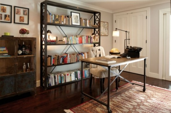 Old Fashion Captivating Home Office Design Ideas: Stylish And Dramatic Masculine Home Offices Home Decoration Mini Bar Rustic Design Style With Natural Stone And Wood Table And Cabinet Decor With Exspose Bookselve ~ stevenwardhair.com Bookshelves Inspiration