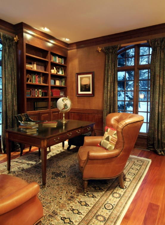 Old Fashion Captivating Home Office Design Ideas : Stylish And Dramatic Masculine Home Offices Wooden Furniture Interior And Calming And Versatile Color And Mixes With Black Lacquer And Arm Chair Custom Bookshelves