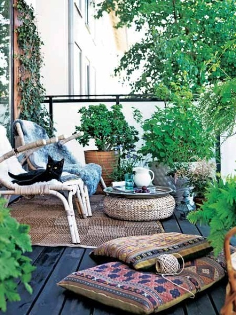 Motivational Pictures To Inspire You To Design Your Home Deck : Stylist Outdoor Deck Design Ideas With Bohemian Style Lush Grey Fur Throw Surprising Rustic Rattan Furniture And Ethnic Large Pillow